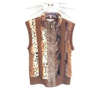 Peter Nygard faux fur leopard sequin vest SP NWOT